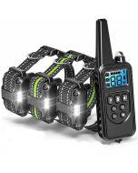 800m Electric Hunde-Trainingskragen mit LCD-Display-PET-Fernbedienung wasserdicht wiederaufladbare Halsbänder für den Schockschwingungsklang