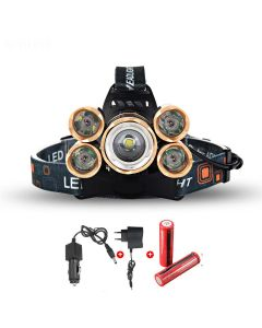 LED Scheinwerfer 5000 Lumen High-Power LED-Scheinwerfer Boruit 5xCREE XM-L 4 Modus Scheinwerfer-komplett Set