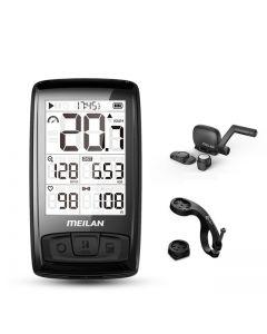 Meilan M4 Drahtloser Fahrradtacho Herzfrequenzmesser Trittfrequenz Geschwindigkeitssensor Wasserdichte Stoppuhr