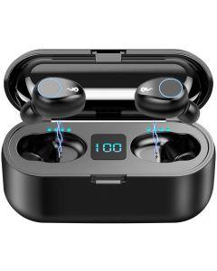 F9 TWS Wireless Bluetooth 5.0 Ohrhörer, IPX7 wasserdichte Touch-Kopfhörer in der Ohrsport-Laufhörer