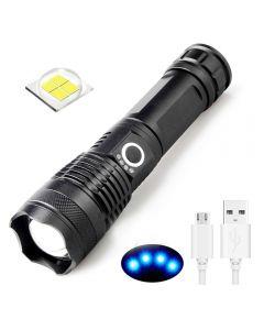 USB wiederaufladbare Taschenlampe XHP50 LED Licht 5 Modi 26650/18650 Zoombare Taschenlampe