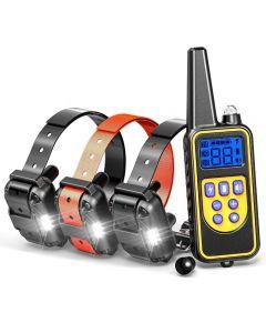 800YD Elektrische Remote-Hunde-Trainingskragen wasserdicht wiederaufladbares LCD-Display für alle Größen-Piepton-Schockschwingungsmodus