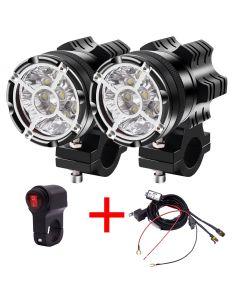 LED Motorrad Spotlight Universal V 9led Perlen 90W wasserdichte Nebel Fleck Motos Glühbirne Motorrad Scheinwerfer Hilfslampe